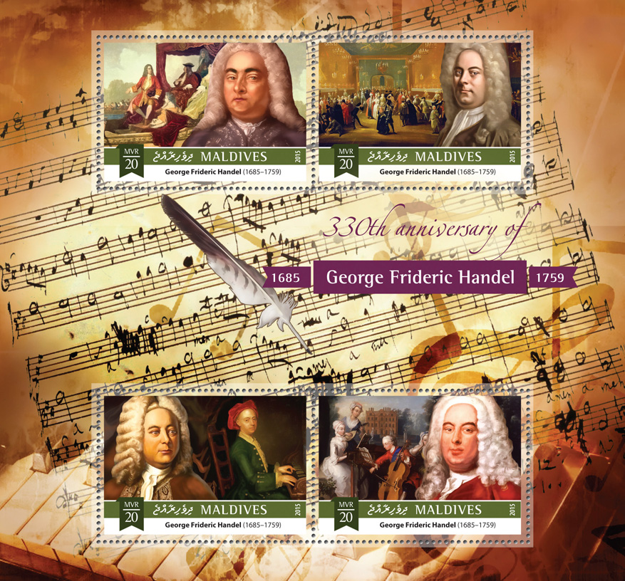 George Frideric Handel - Issue of Maldives postage stamps