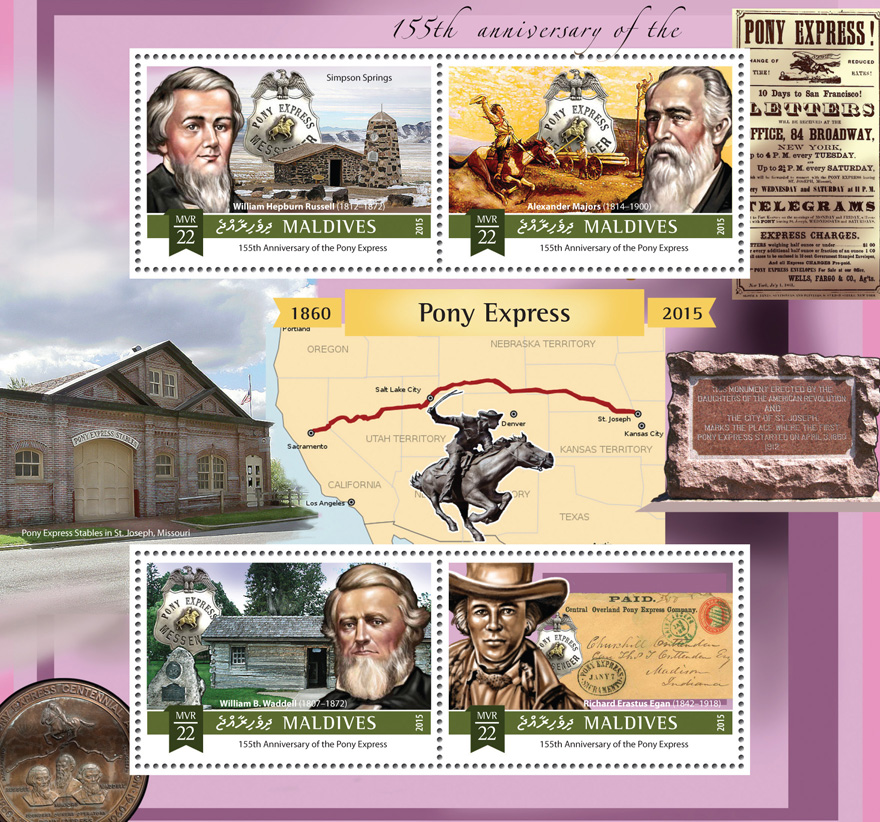 Pony Express - Issue of Maldives postage stamps