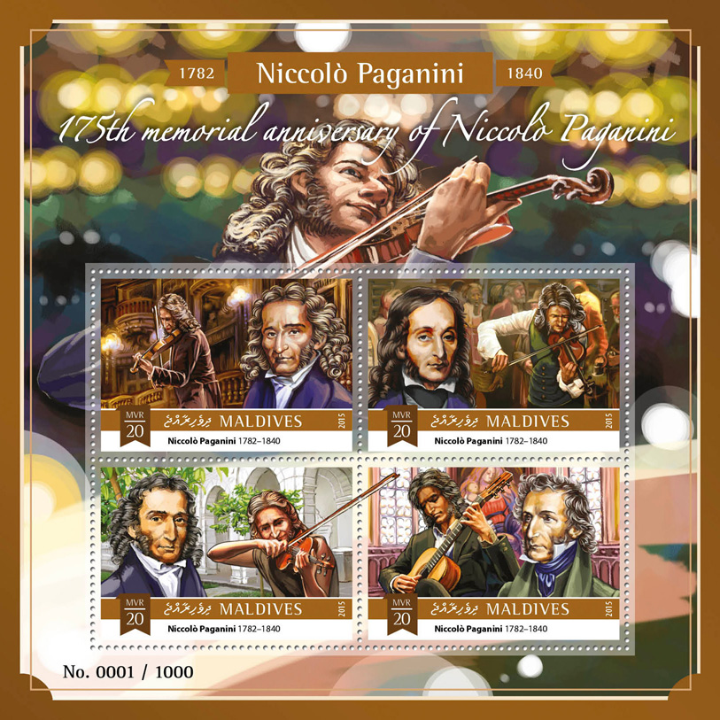 Niccolo Paganini - Issue of Maldives postage stamps