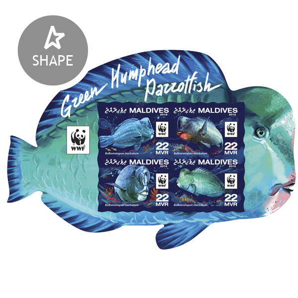 WWF – Parrotfish (imperf. Set) - Issue of Maldives postage stamps