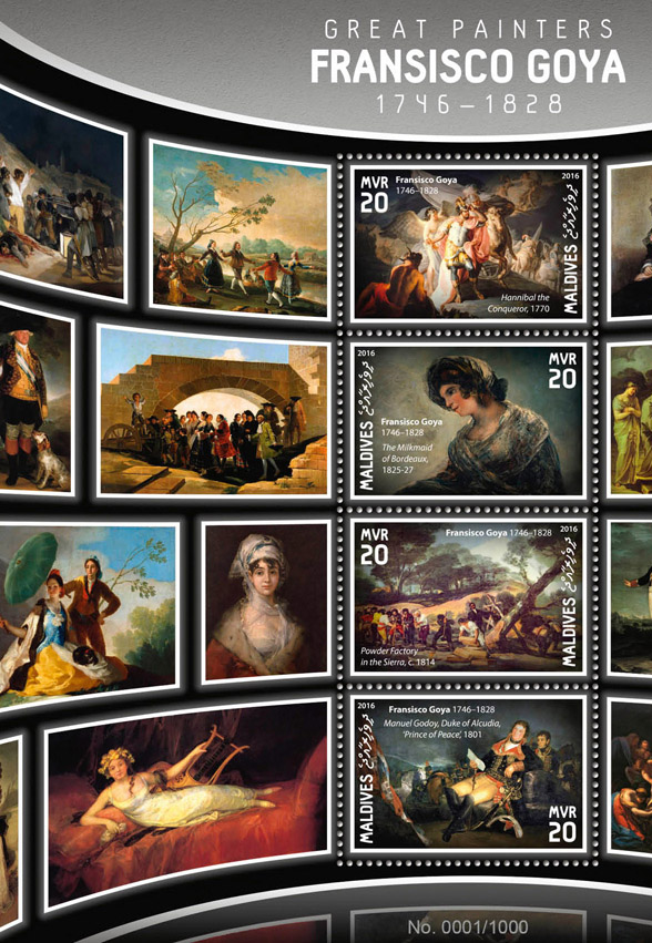 Francisco Goya - Issue of Maldives postage stamps