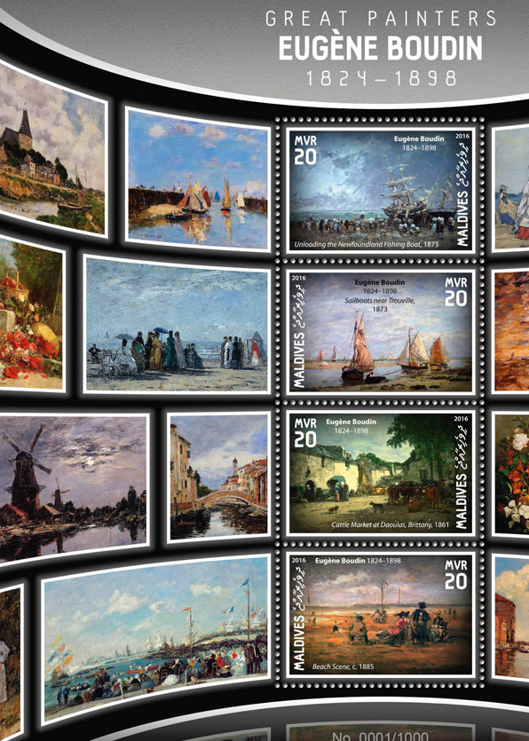 Eugene Boudin - Issue of Maldives postage stamps