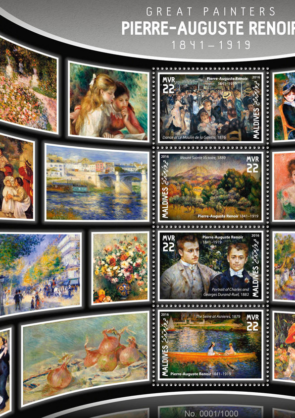 Pierre-Auguste Renoir - Issue of Maldives postage stamps