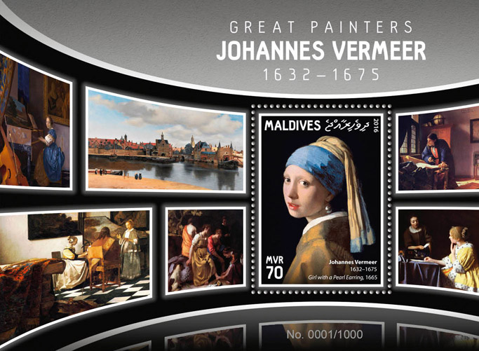 Johannes Vermeer - Issue of Maldives postage stamps