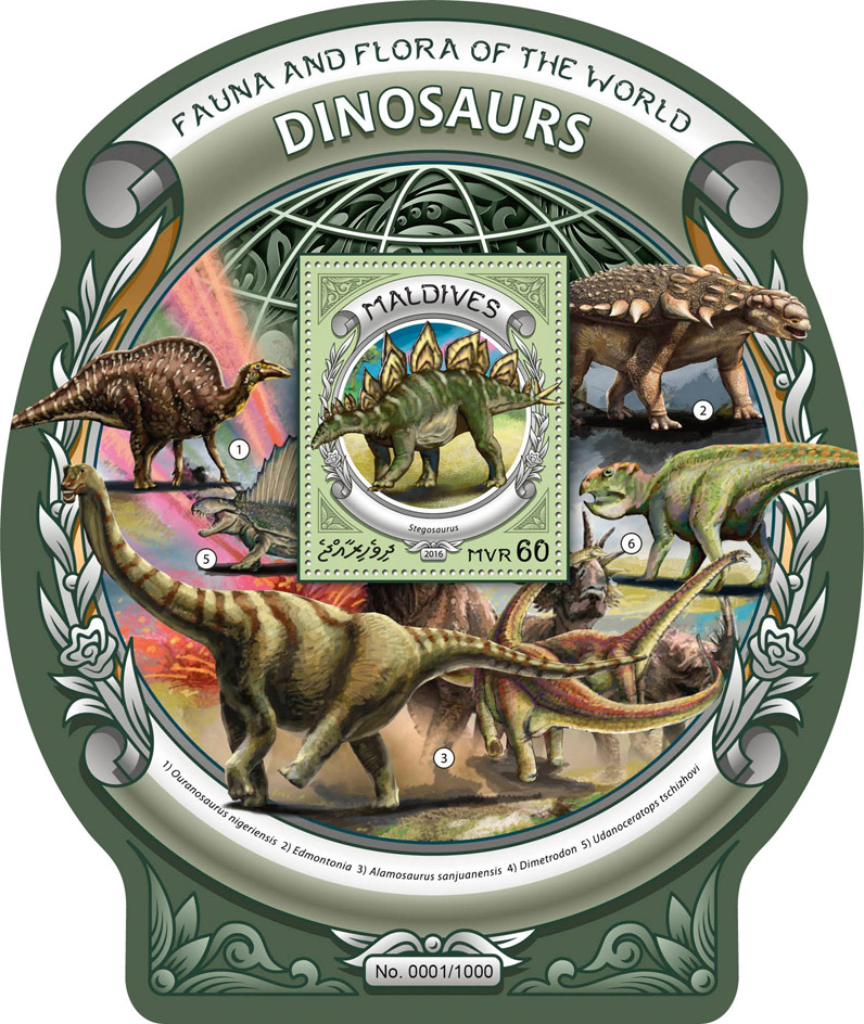 Dinosaurs - Issue of Maldives postage stamps