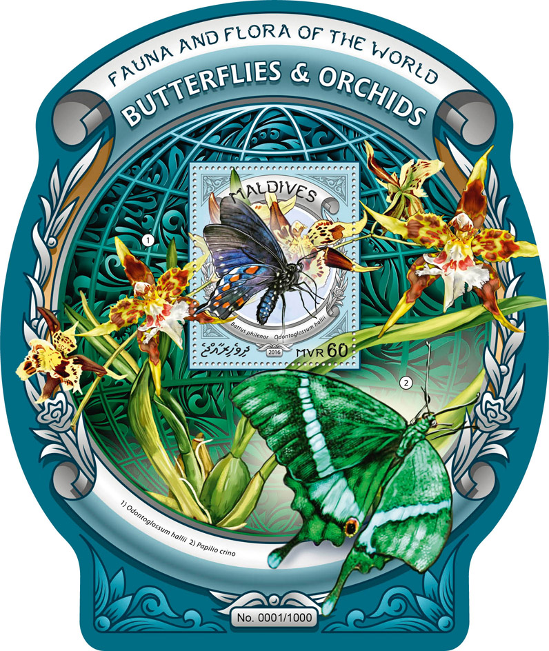 Butterflies and Orchids - Issue of Maldives postage stamps