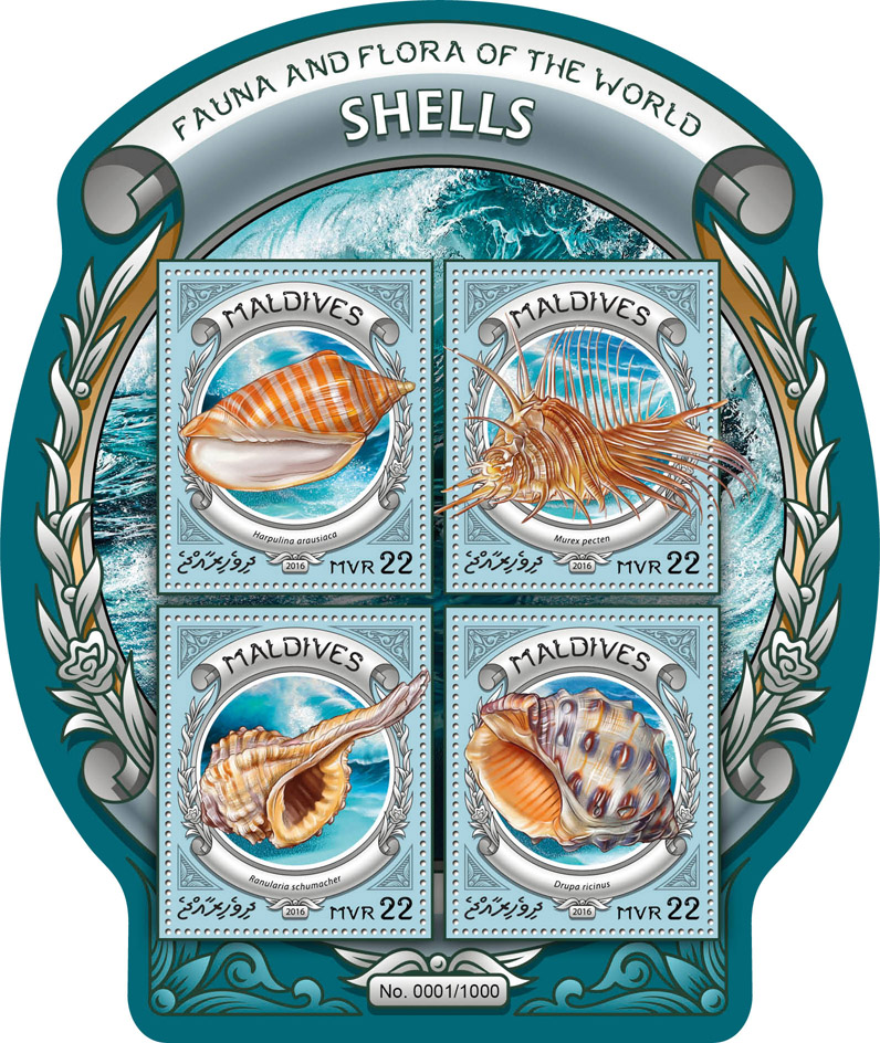 Shells - Issue of Maldives postage stamps