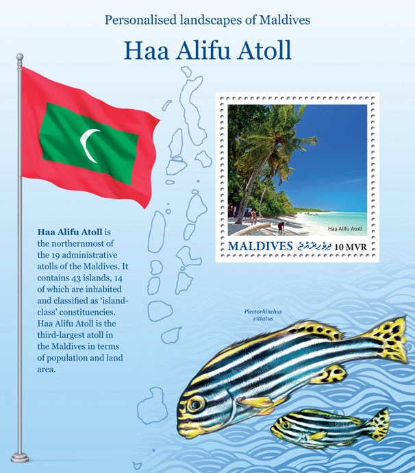 Haa Alifu Atoll - Issue of Maldives postage stamps