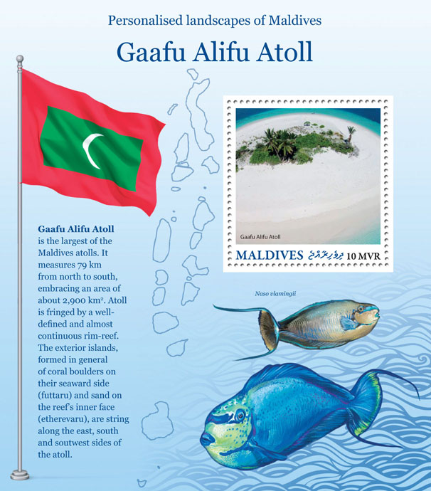 Gaafu Alifu Atoll - Issue of Maldives postage stamps