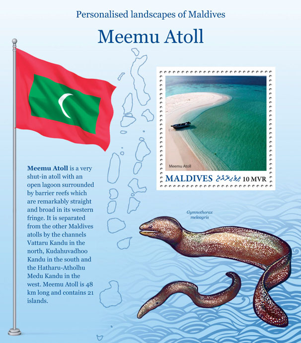 Meemu Atoll - Issue of Maldives postage stamps