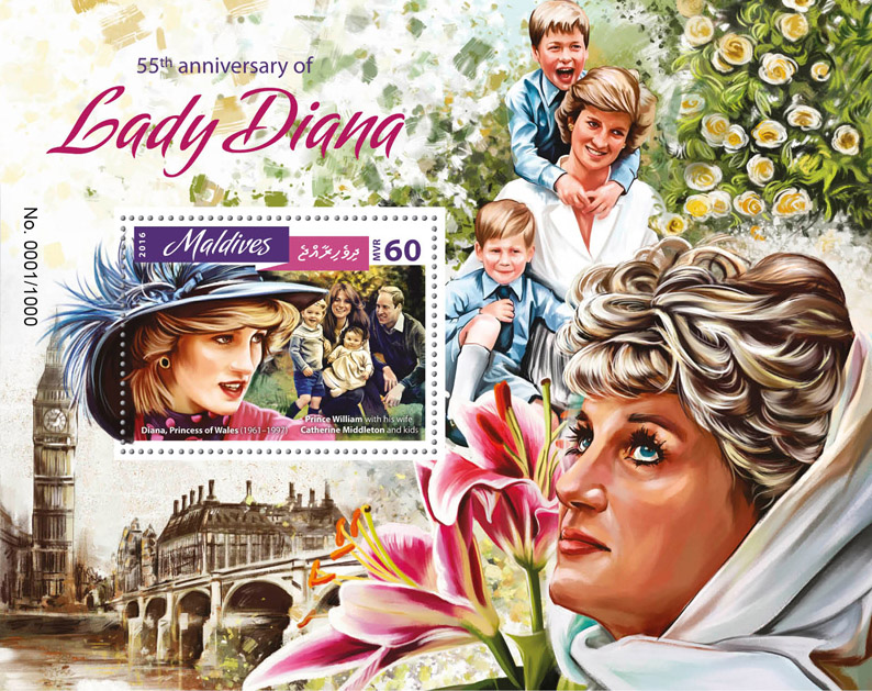 Lady Diana - Issue of Maldives postage stamps
