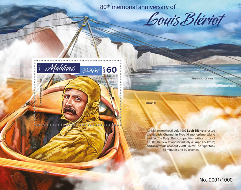 Louis Bleriot - Issue of Maldives postage stamps