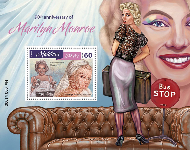 Marilyn Monroe - Issue of Maldives postage stamps