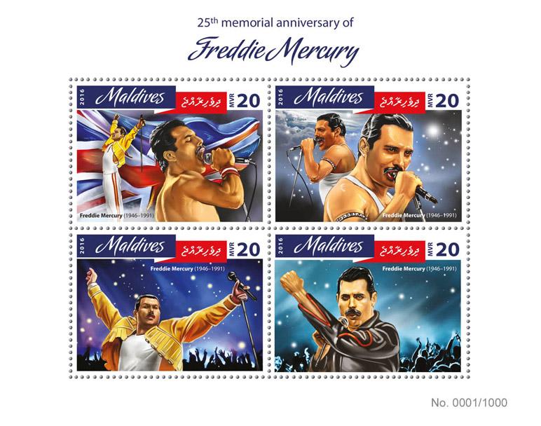 Freddie Mercury - Issue of Maldives postage stamps
