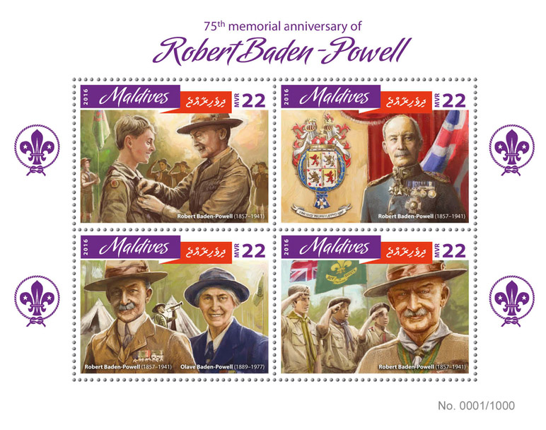 Robert Baden-Powell - Issue of Maldives postage stamps