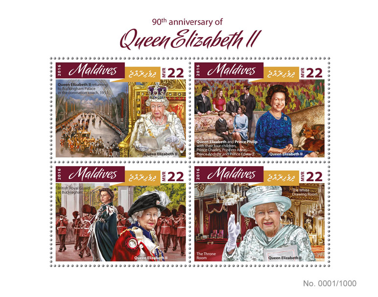 Queen Elizabeth II - Issue of Maldives postage stamps