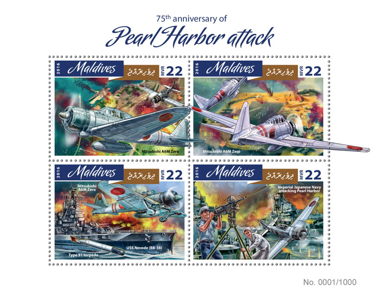 Pearl Harbor - Issue of Maldives postage stamps