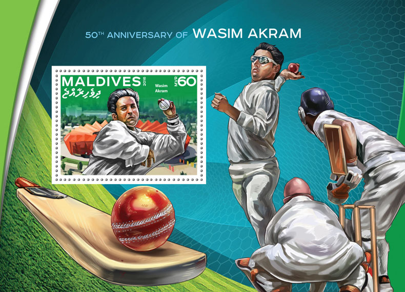 Wasim Akram - Issue of Maldives postage stamps