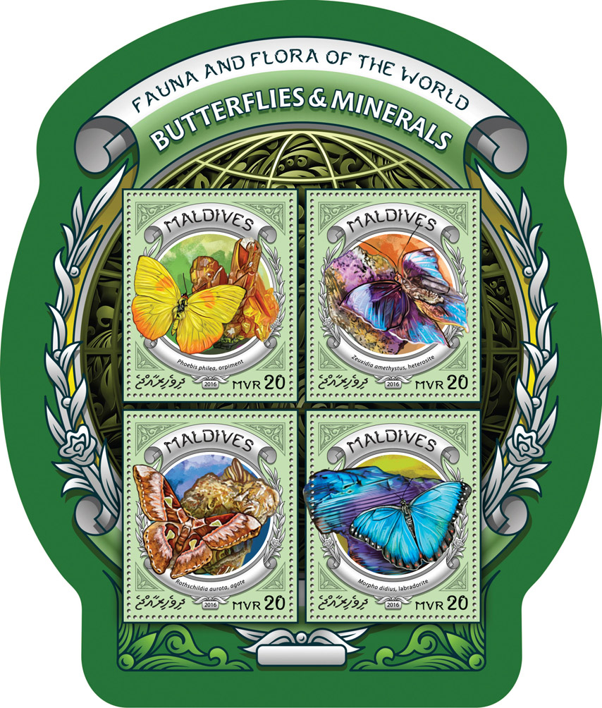 Butterflies and minerals - Issue of Maldives postage stamps
