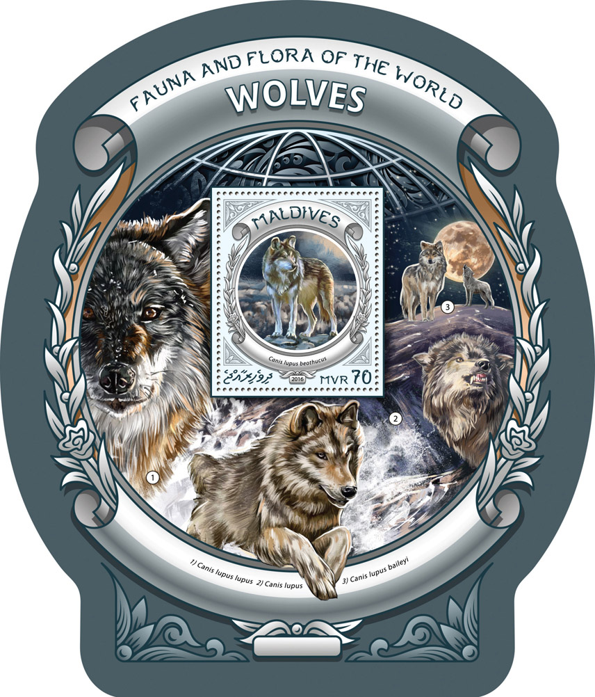 Wolves - Issue of Maldives postage stamps