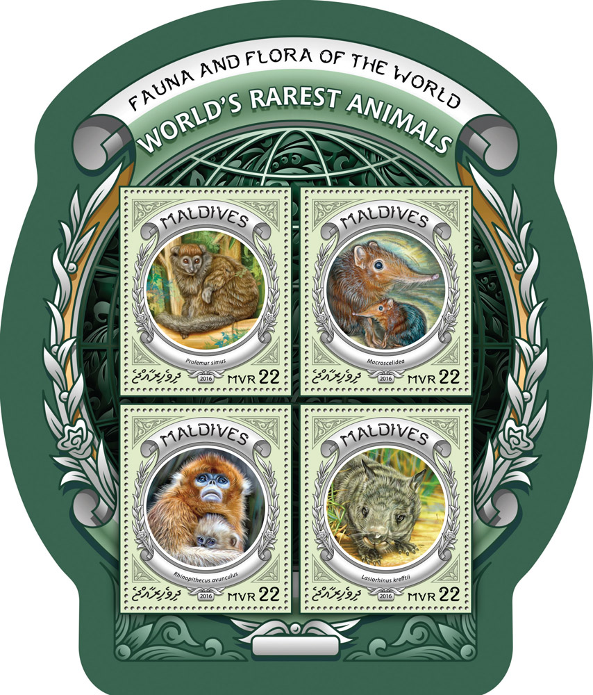 World's rarest animals - Issue of Maldives postage stamps