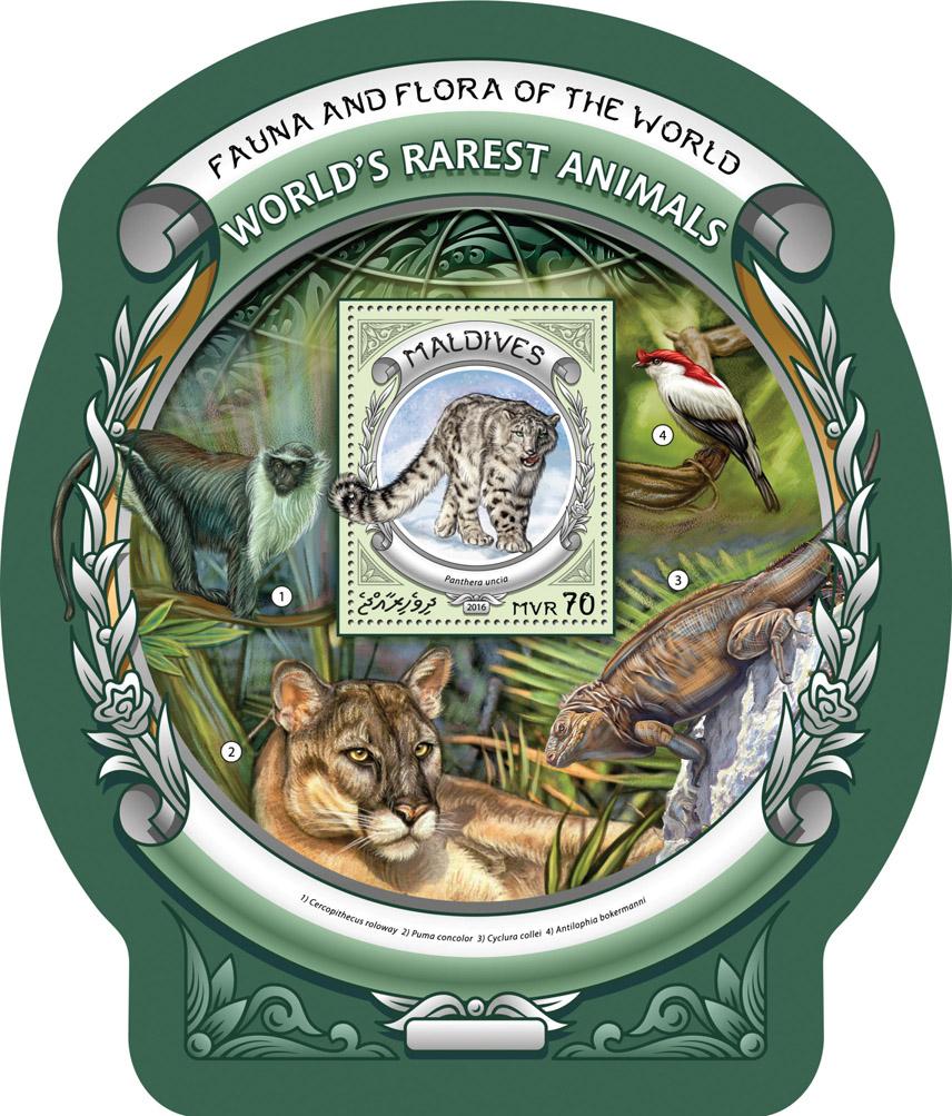 World's rarest animals - Issue of Maldives postage stamps