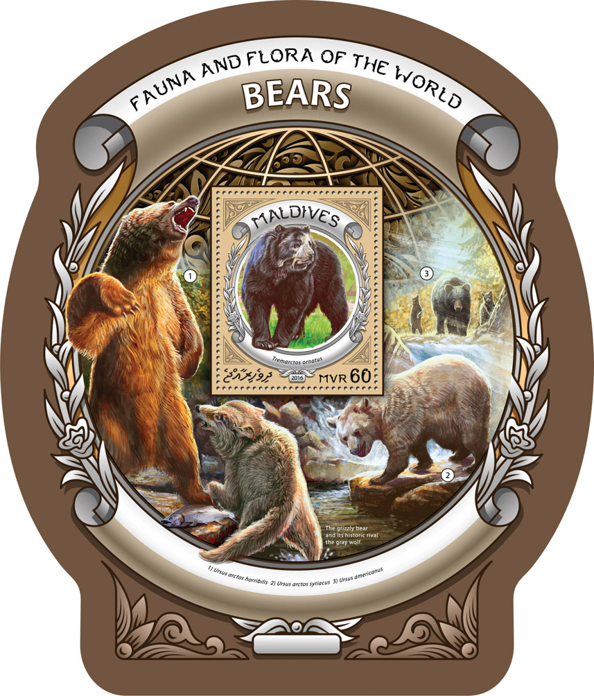 Bears - Issue of Maldives postage stamps