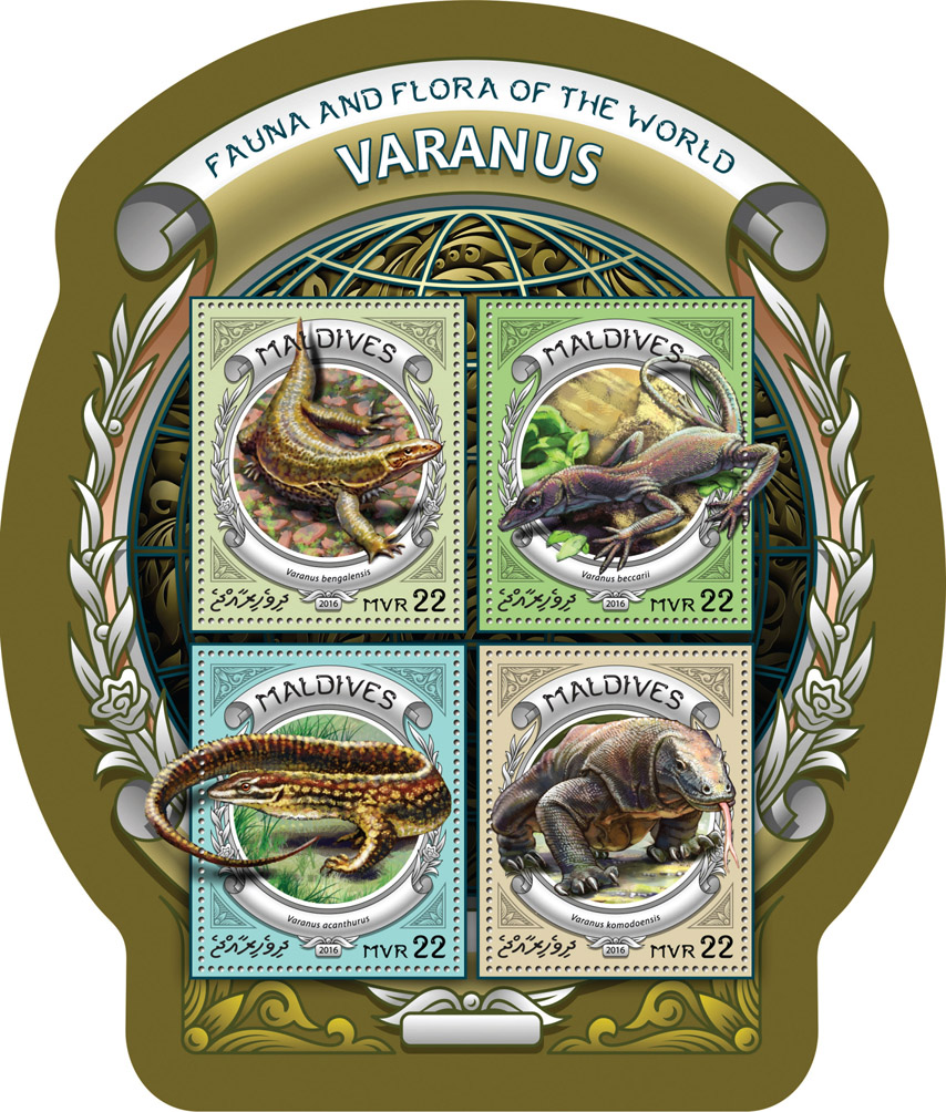 Varanus - Issue of Maldives postage stamps