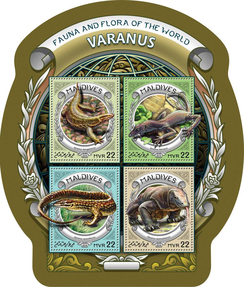 Varanus - Issue of Maldives postage stamps