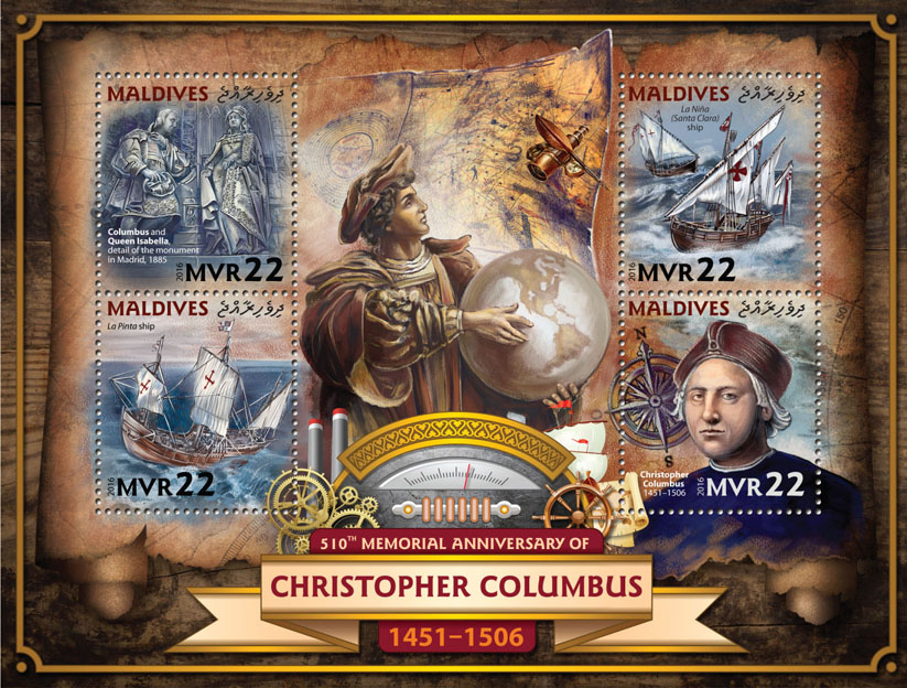 Christopher Columbus - Issue of Maldives postage stamps