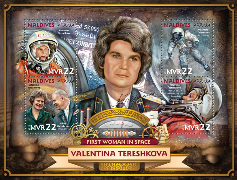 Valentina Tereshkova - Issue of Maldives postage stamps