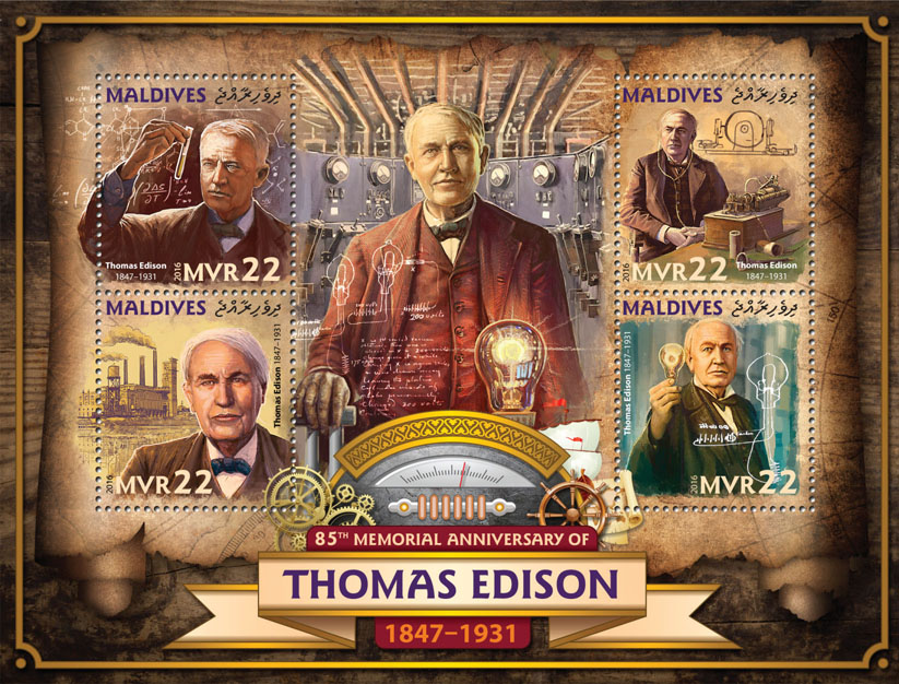 Thomas Edison - Issue of Maldives postage stamps
