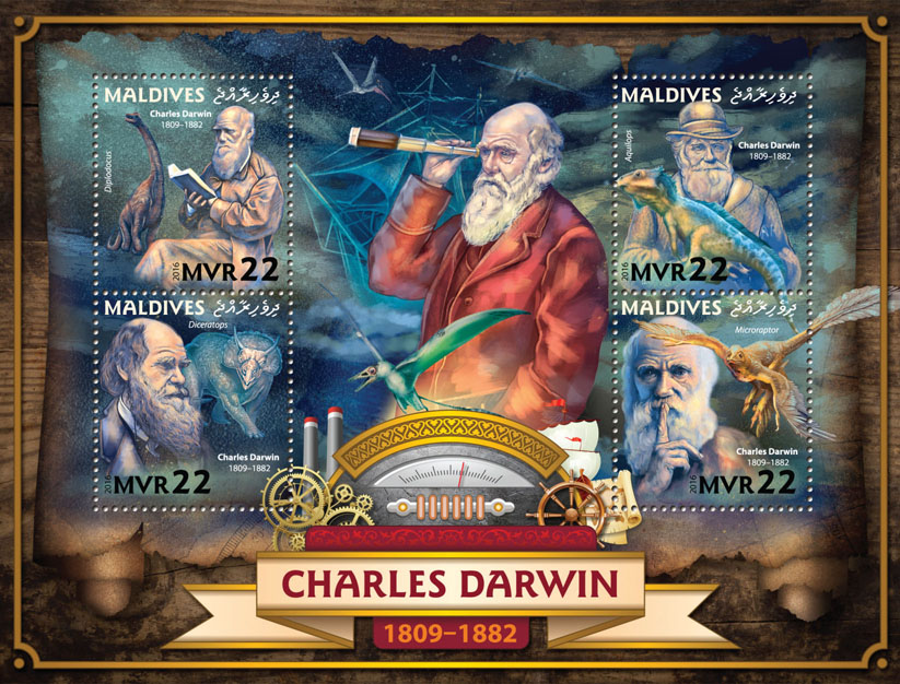 Charles Darwin - Issue of Maldives postage stamps
