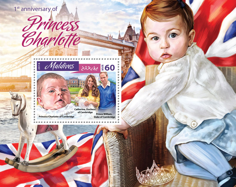 Princess Charlotte - Issue of Maldives postage stamps