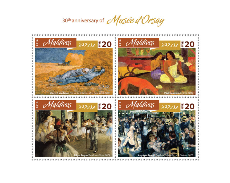 Musée d'Orsay - Issue of Maldives postage stamps