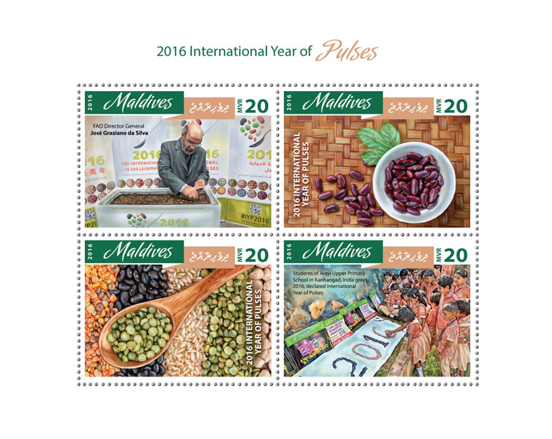 Year of Pulses - Issue of Maldives postage stamps