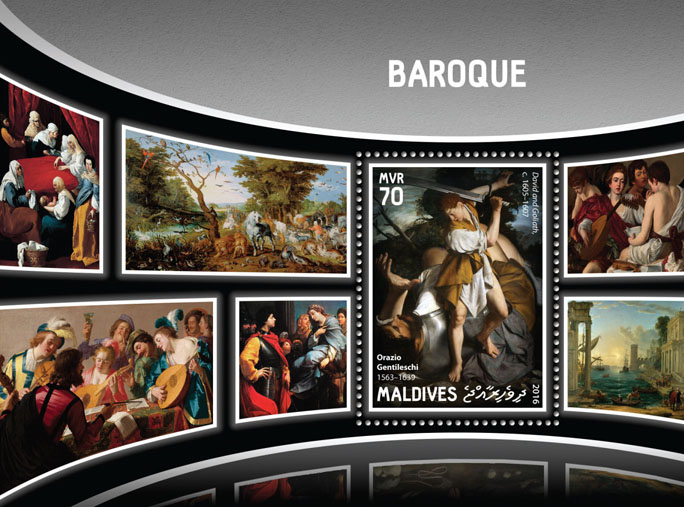 Baroque - Issue of Maldives postage stamps
