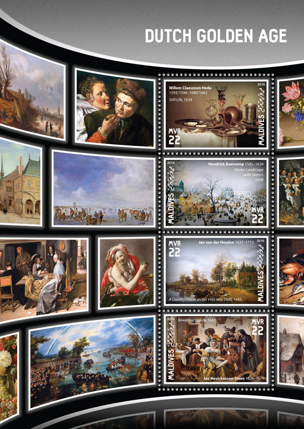 Dutch golden age - Issue of Maldives postage stamps