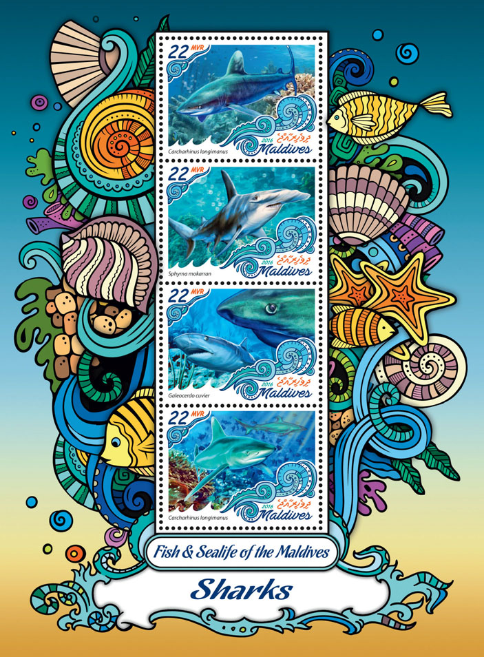 Sharks - Issue of Maldives postage stamps