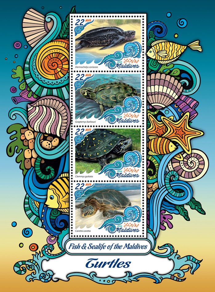 Turtles - Issue of Maldives postage stamps