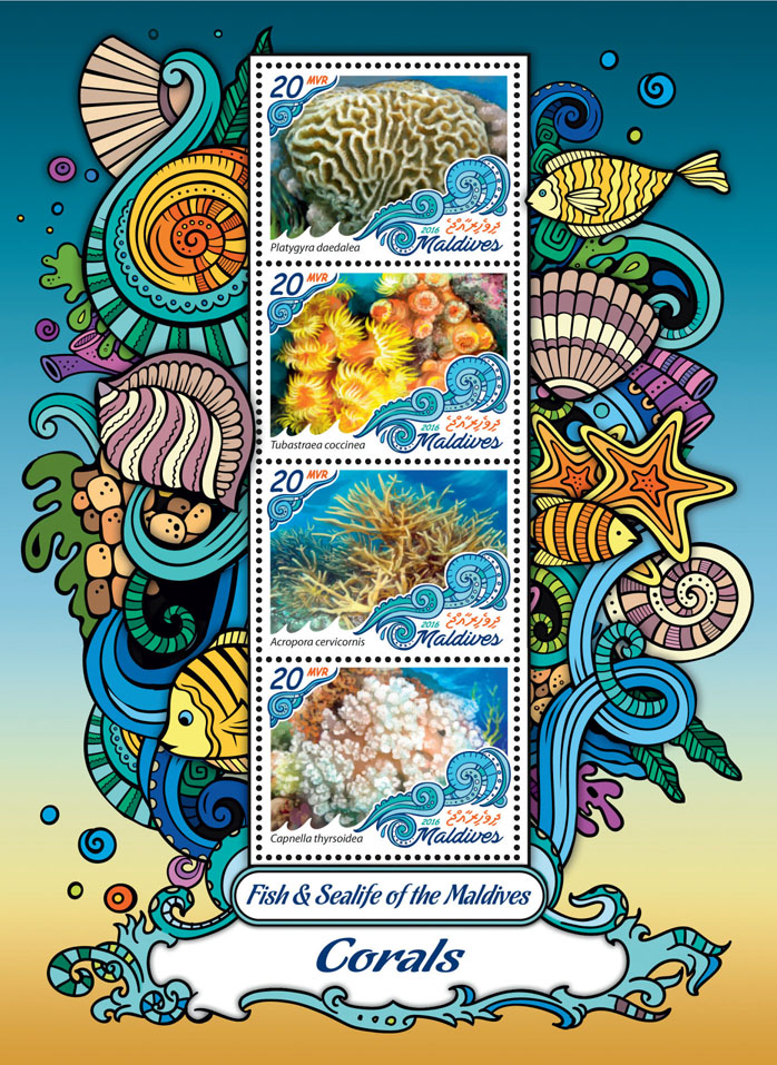 Corals - Issue of Maldives postage stamps