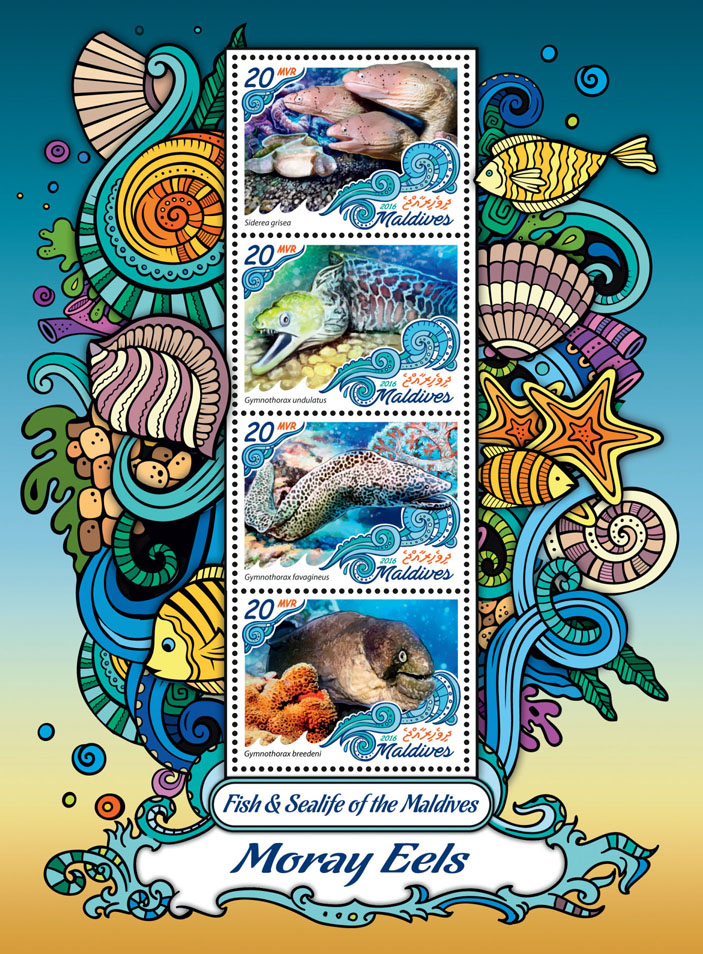 Moray Eels - Issue of Maldives postage stamps
