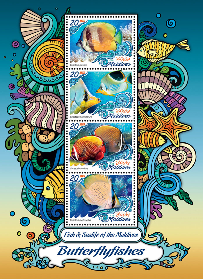 Butterflyfishes - Issue of Maldives postage stamps