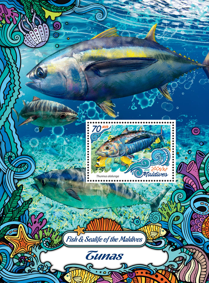 Tuna - Issue of Maldives postage stamps