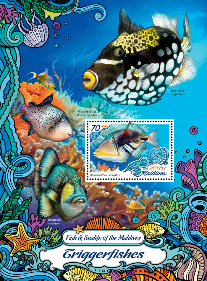 Triggerfishes - Issue of Maldives postage stamps