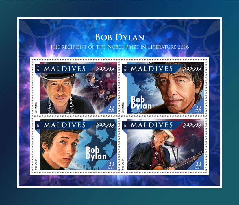 Bob Dylan - Issue of Maldives postage stamps