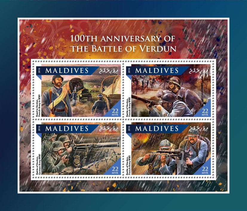 Battle of Verdun - Issue of Maldives postage stamps