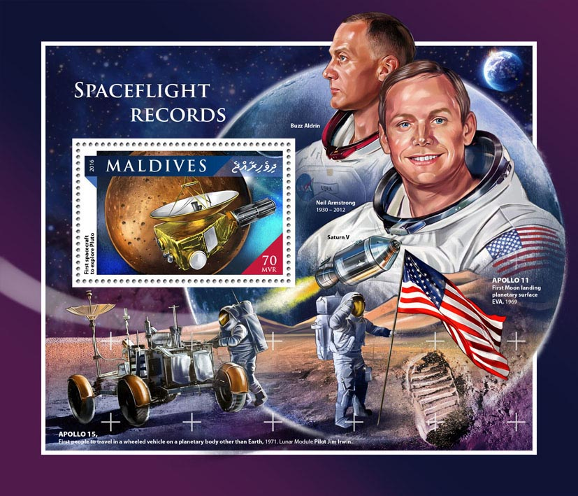 Spaceflight records - Issue of Maldives postage stamps