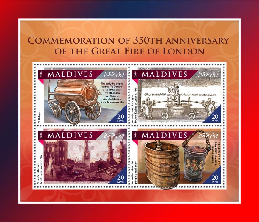 Great Fire of London - Issue of Maldives postage stamps