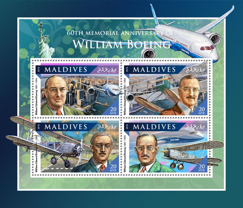 William Boeing - Issue of Maldives postage stamps